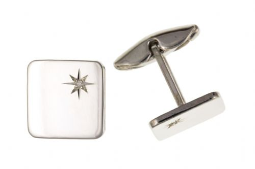 Sterling Silver Diamond Set Plain Square Cufflinks